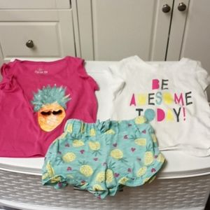 2T Set of shorts and 2 shirts - Pineapple